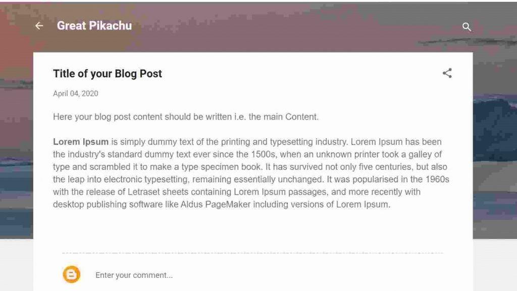 Blogger First Blog Post