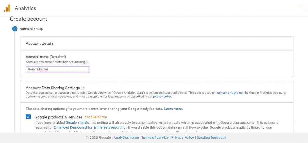 Google Analytics Create Account