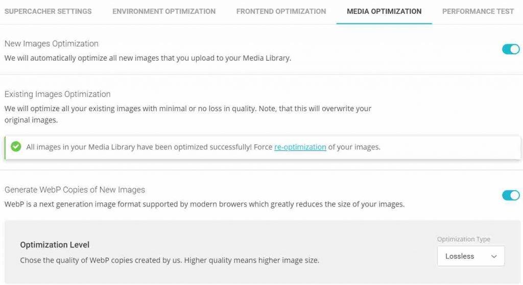 SG Optimizer Media Optimization